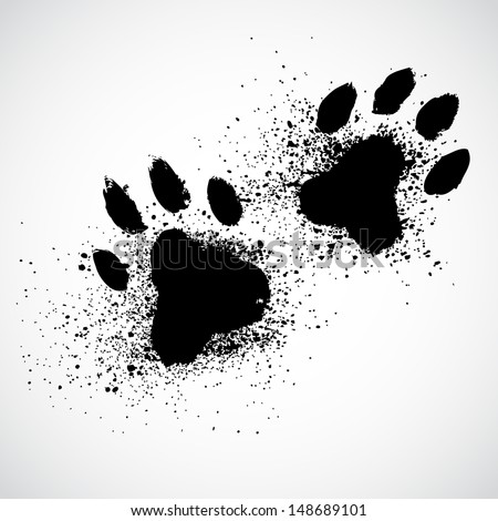 Grunge dog paws - stock vector