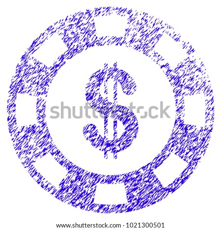 Grunge Dollar Casino Chip rubber seal stamp watermark. Icon symbol with grunge design and unclean texture. Unclean vector blue emblem.