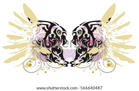 Grunge Double Imaginary Animal Symbol Colorful Stock Vector