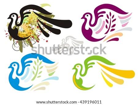 Grunge dove and colorful dove symbols - stock vector
