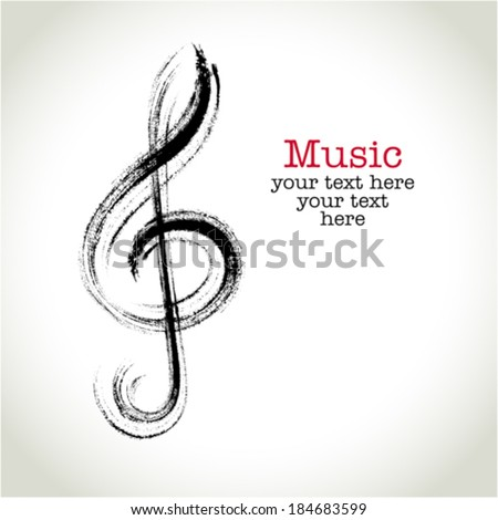 Grunge drawing black clef with brushwork - stock vector