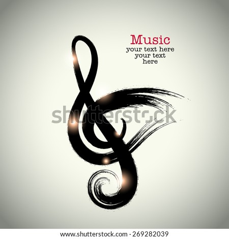 Grunge drawing black clef with brushwork and bird shaped - stock vector