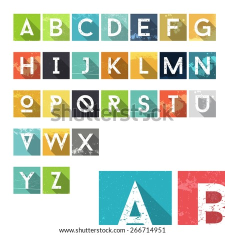 Grunge Dust Colorful Alphabet Icons - Typography Element - Vector Illustration - stock vector