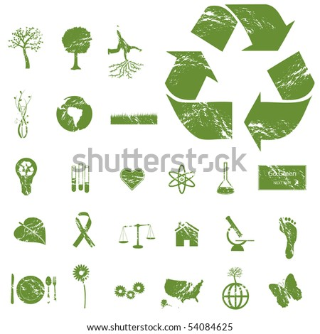 Grunge Eco and Green Icons