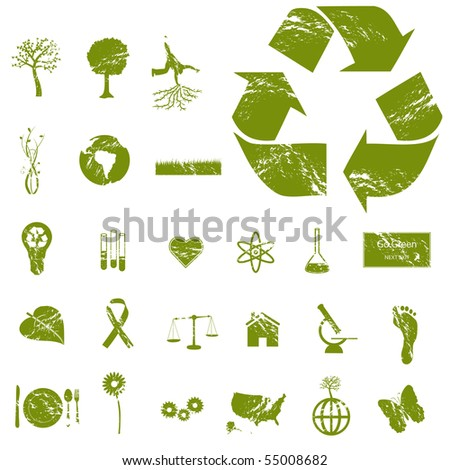 Grunge Eco and Green Icons - stock vector