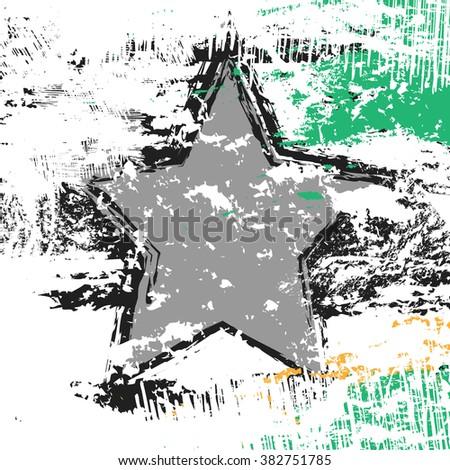 grunge edges star texture and background, vector illustration design element - stock vector