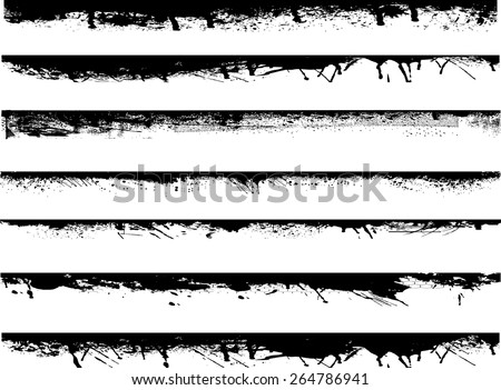 Grunge Edges Vector Set . Design Elements . Grunge Borders , Dividers or Brush Strokes  - stock vector