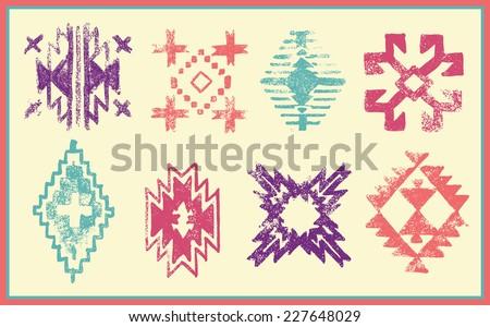 Grunge effect navajo - aztec vector pattern page - stock vector