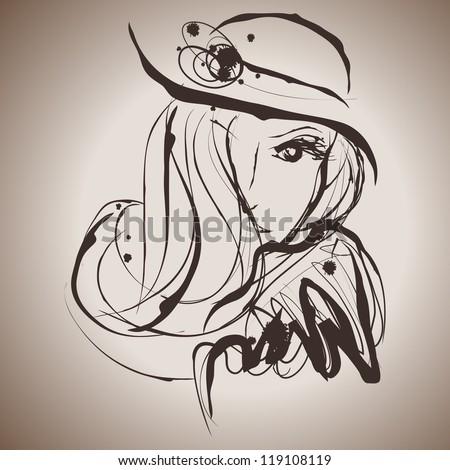Grunge elegance ink splash illustration of beautiful woman - stock vector