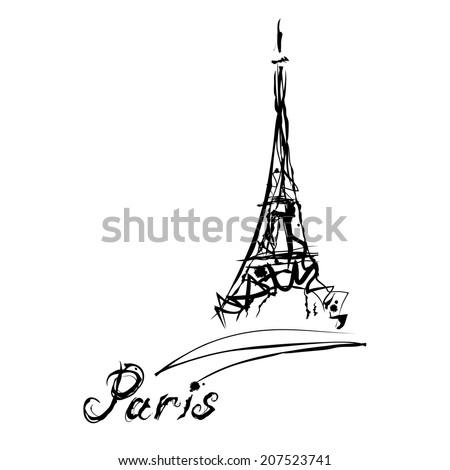 Grunge elegance ink splash illustration of Eiffel tower and calligraphy - stock vector