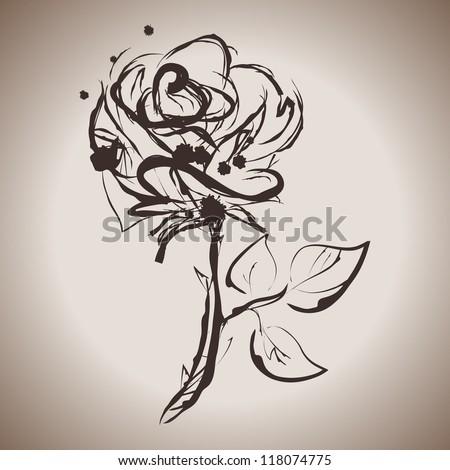 Grunge elegance ink splash illustration of rose flower - stock vector