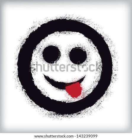 Grunge emoticon - stock vector