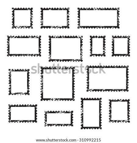 Grunge empty blank postage stamps different size, icons set, black isolated on white background, vector illustration. - stock vector