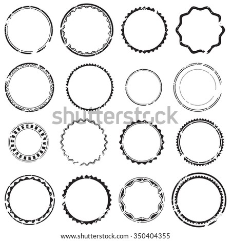 Grunge empty rubber stamps, set, graphic design elements, black isolated on white background, vector illustration.  - stock vector