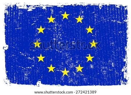 Grunge EU flag.European Union flag with grunge texture.Vector template. - stock vector
