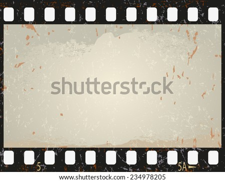 Grunge film frame, vector illustration - stock vector