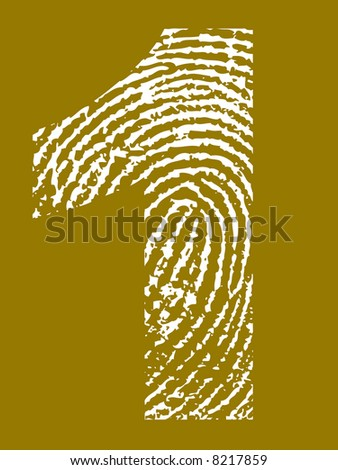 Grunge Fingerprint Alphabet - Number 1 (Highly detailed grunge letter) - stock vector