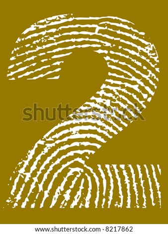 Grunge Fingerprint Alphabet - Number 2 (Highly detailed grunge letter) - stock vector