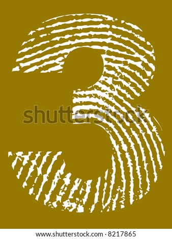 Grunge Fingerprint Alphabet - Number 3 (Highly detailed grunge letter) - stock vector