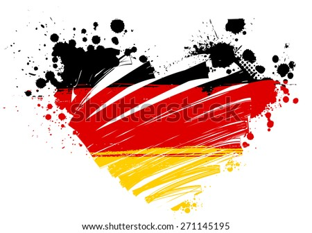 Grunge flag of Germany in heart shape for your designs - stock vector