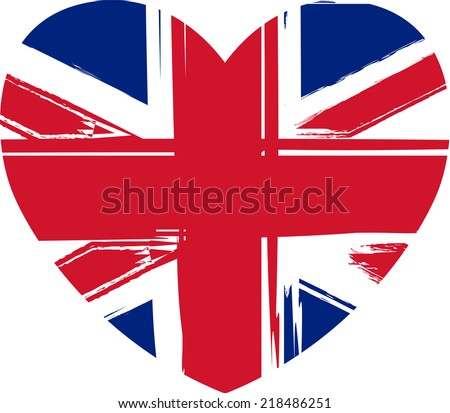 Grunge flag of the United Kingdom in heart shape - stock vector
