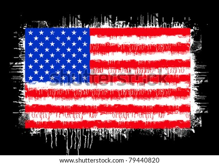 grunge flag of the united states of america isolated on black - stock vector