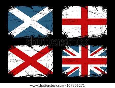 Grunge flags of Scotland, England and Ireland and the Union Flag of the United Kingdom. - stock vector