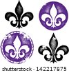 Grunge Fleur De Lis Collection - stock vector