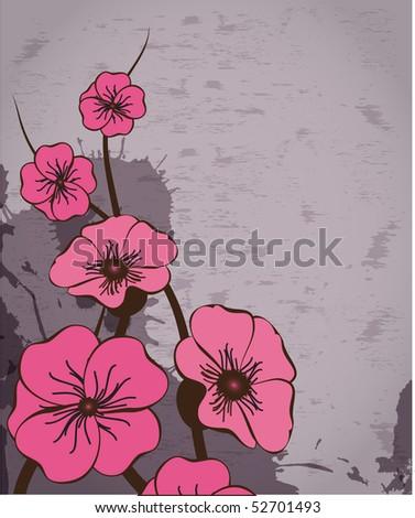 Grunge floral background. Vector illustration - stock vector