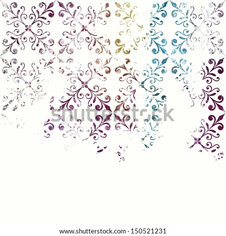Grunge floral background. Vector watercolor background. Floral pattern. - stock vector
