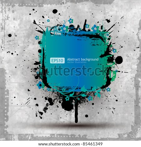 Grunge floral banner with an inky dribble strip with copy space - stock vector