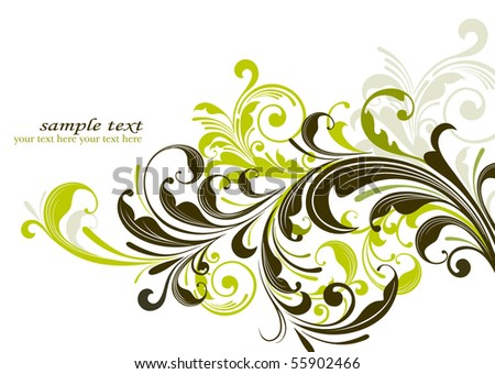 grunge floral decorative background - stock vector