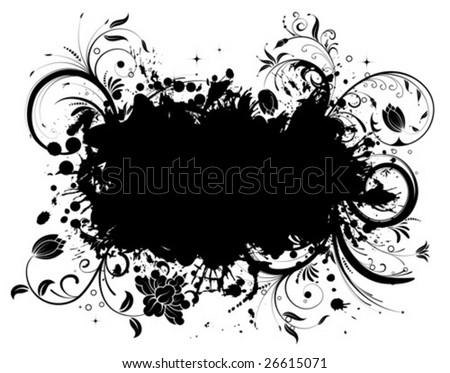 Grunge Floral Frame, element for design, vector illustration - stock vector
