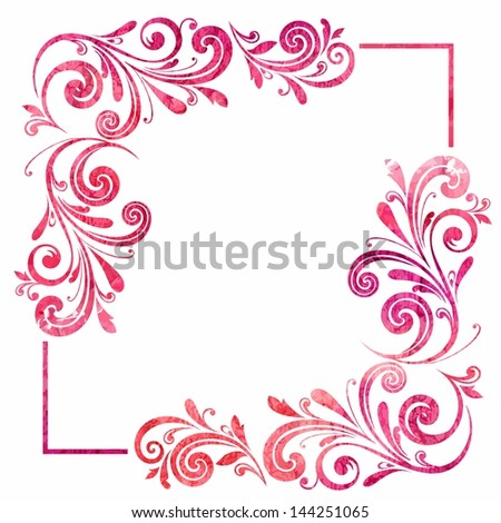 Grunge floral frame. Vector watercolor background. - stock vector