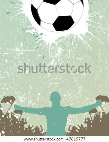 grunge football poster - stock vector