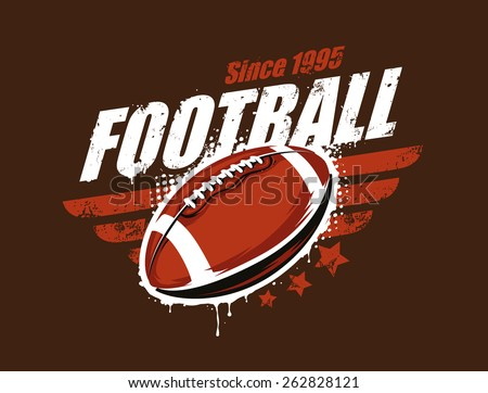 Grunge football print. Retro styled. Vector art.  - stock vector