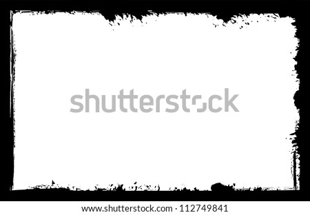 grunge frame, black - stock vector