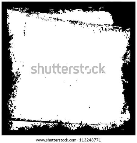 grunge frame, black, square - stock vector