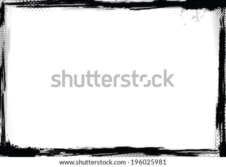Grunge frame in black and white, vector illustration - stock vector