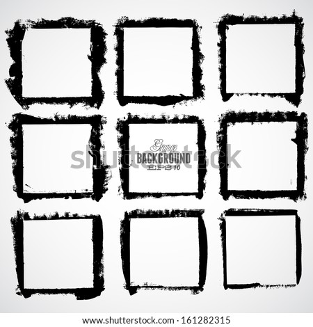 Grunge frame set for multiple applications. - stock vector