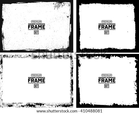 Grunge frame texture set - Abstract design template. Isolated stock vector illustration  - stock vector
