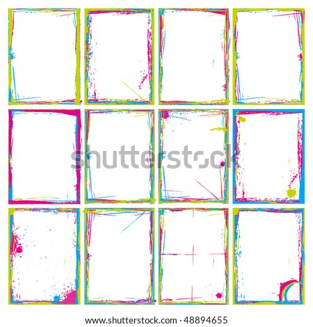 Grunge Frames and Corners in Colors. Illustrator EPS 8 Vector for multiple applications. - stock vector
