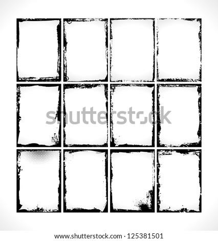 Grunge Frames Collection. Vector Design Illusration. - stock vector