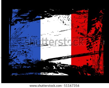 grunge French flag vector - stock vector