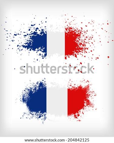 Grunge french ink splattered flag vectors - stock vector