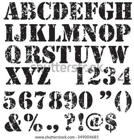 Grunge full alphabet and numbers in black isolated on white. Stamp stencil letters. Vector font. - stock vector