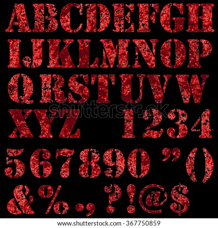 Grunge full alphabet and numbers in red colors isolated on black. Stamp stencil letters. Vector font.