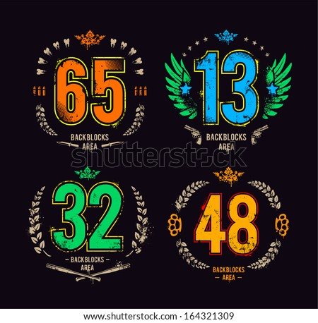 Grunge gangster lucky number prints vector set. Vector illustration. - stock vector
