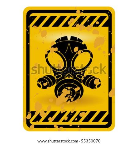 Grunge gas mask warning sign isolated over white - stock vector