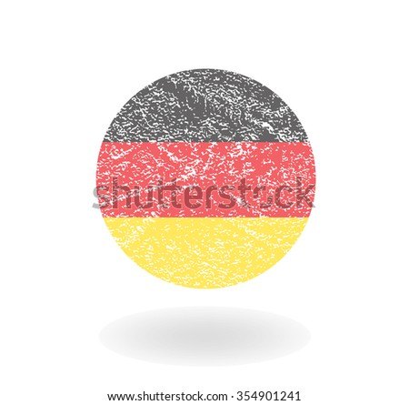 Grunge Germany round flag, Vector illustration - stock vector